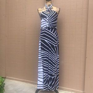 Sz 2 Bisou Bisou Black White Maxi Dress EUC
